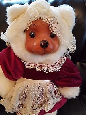 Signed Robert Raikes Mrs. Claus Wood Face Collectible Teddy Bear 18""