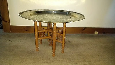 ANTIQUE**Asian Brass/Carved Wood**Tray Table
