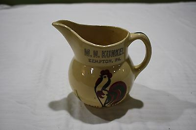 Vintage WATT Pottery Colorful Rooster/ Chicken Small Pitcher Kempton, Pa.