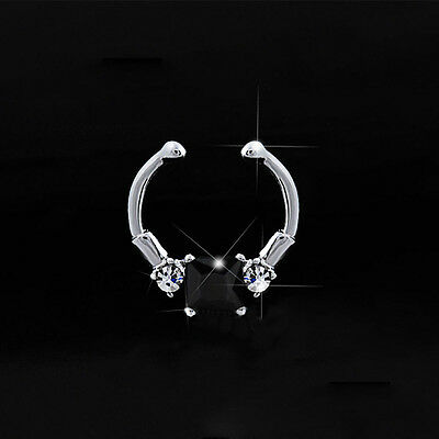 New Clip On Nose Hoop Fake Septum Jewelry Clicker Non-Piercing Nose Ring