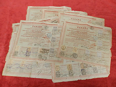Lot Of 10 Canal Interocéanique De Panama 1888 Red French Old Bond Certificate