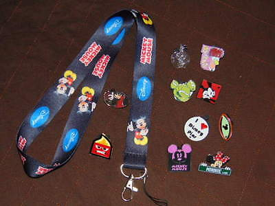 10 DISNEY TRADING PINS & LANYARD Mickey Mouse GOOFY Minnie NICE SET LOT
