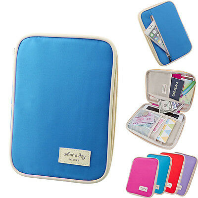 Gift 7.9 Inch Travel Cards Passport Holder Case Wallet Purse Organizer Handbag