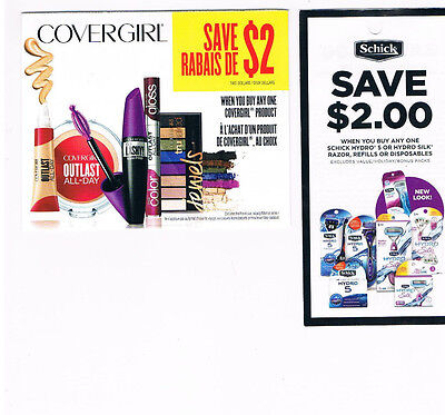 COUPONS - Save 4 x $2 CoverGirl Product + Save $2 Schick Razor  - Canada Only
