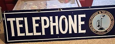Lincoln Telegraph Telephone Double Sided Porcelain Sign 1920's-30's Stick Phone