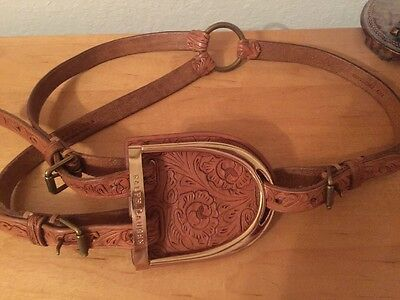 New Ralph Lauren Collection Equestrian Brown Tooled Leather Belt Sz M