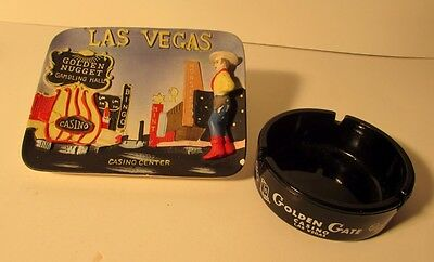 Vintage glass ashtray GOLDEN GATE CASINO Las Vegas Nevada & Downtown Ashtray