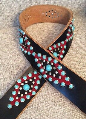 Revolution Brown Leather Turquoise Stones /Studded Women's Indian Theme Belt 34