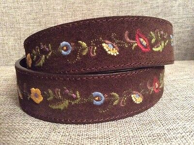 Reversible EMBROIDERED Floral /Flowers Brown  Boho Belt Women's Size Medium / 30