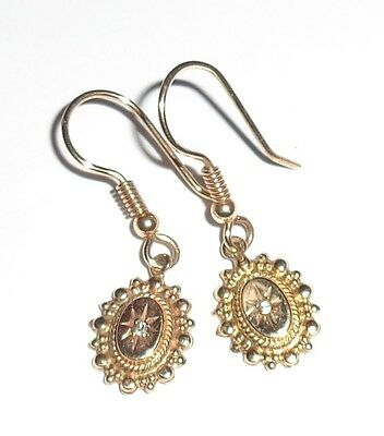Antique Victorian 9ct Yellow Gold Old Cut Diamond Etruscan Drop Earrings