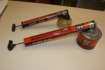 Two Vintage Insect Spray Black Flag Insecticide Sprayers Glass and Metal
