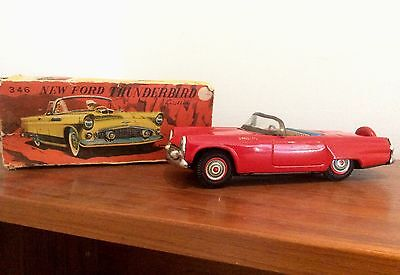 Antique Tin Toy New Ford Thunderbird 346 Friction By Bandai