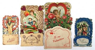 Victorian Die Cut Fold Out Valentine Germany Lot of 4