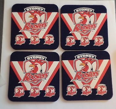 NRL official licensed product.4 Sydney Roosters neoprene drink coaster