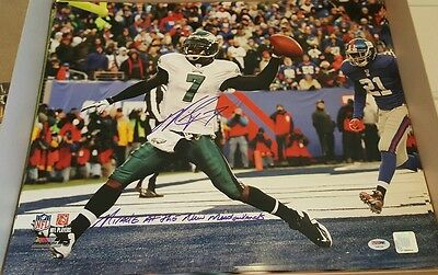 """Michael Vick Eagles """"miracle At The Meadowlands 2"""" Autographed 16X20 Color Photo"""