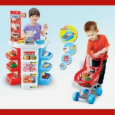NEW Kids Educational Pretend Play Super Store Toy Set, Realistic Looking Food