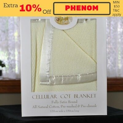 NEW 100% Cotton Yellow Cellular Baby Cot Blanket 120x150cm Gift Pack