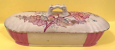 HANLEY Staffordshire Antique Razor Toothbrush Box Cold Painted Holder