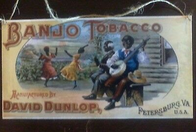 Vintage Style Wood Country Store Sign Banjo Tobacco