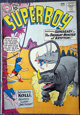 Superboy #87 - Superbaby! Krypto's Romance! The Thought Monster of Krypton!