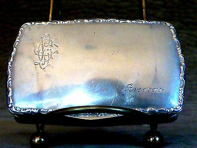 Vintage 800 Silver Snuff Box, Card Case, Pill Box, Gold Wash Inside, Monogrammed