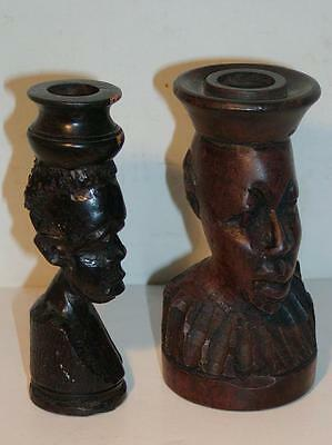 2 AFRICAN CARVED WOOD FIGURES - Ebony Wood - Made as Candle holders
