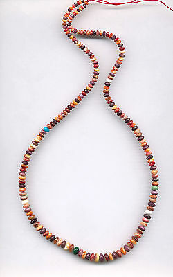 """MULTI-COLOR SPINY OYSTER SHELL RONDELLE BEADS - 040C - 22"""" Strand"""