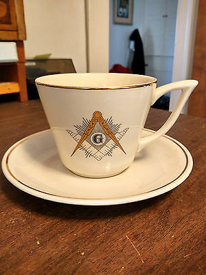 Masonic Cup and Saucer Large 1957