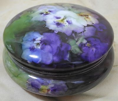Vintage Limoges Hand Painted Round Large Dresser Box Pansies