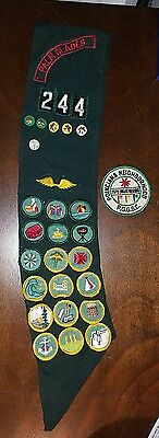 Vintage Girl Scout Sash with 18 Merit Badges