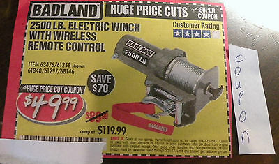 HARBOR FREIGHT COUPON SAV$70 2500 LB ELECTRIC WINCH w REMOTE CONTROL  E20