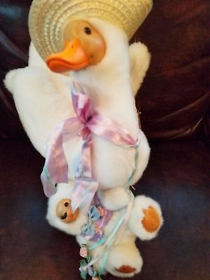 Stuffed Duck/Bear Daffodil & Danny Woodcarving Signed by Robert Raikes- Applause