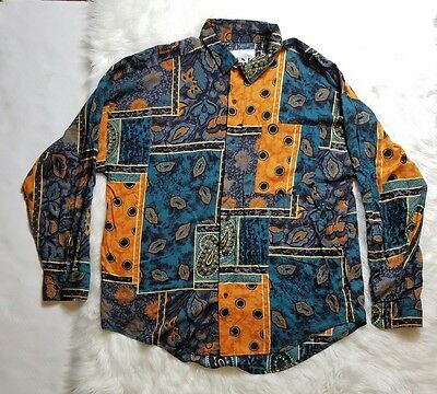 FRANK Mens Shirt Retro Abstract Art Vintage Buttoned Down Long Sleeve Size L