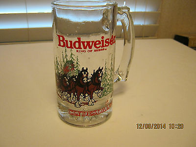 Budweiser Glass Winter Scene Beer Mug Horses