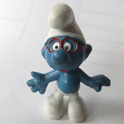 Vintage 1969 Peyo Brainy Smurf with red glasses  Marked Made in Portugal 1969
