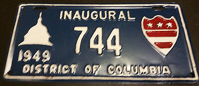 1949 District Of Columbia 744 Inaugural License Plate