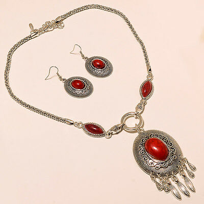 Beautiful 925 Sterling Silver Overlay Necklace With Earring Jewellery