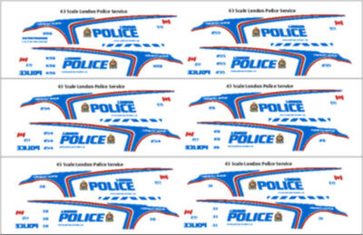 1/43 Scale London Ontario Police Decals -  New Release - Motormax Ford Utility