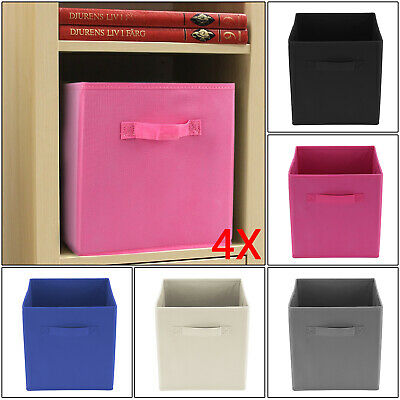 4 x Foldable Storage Collapsible Folding Box Home Clothes Organizer Fabric Cube