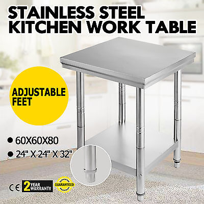 "New Stainless Steel Work Bench Food Prep Kitchen Table Top 60X60cm 24""X24"" UK"