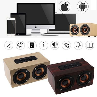 Wooden Bluetooth Speaker Wireless Retro 3D Dual Surround Super Bass Stereo Hot
