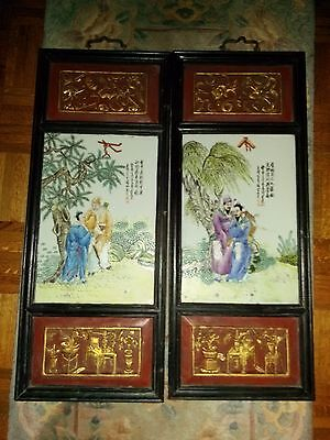 Fine Pair Of Antique Chinese Famille Rose Porcelain Plaques