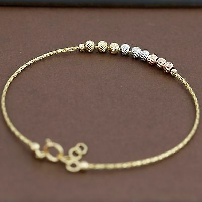 Genuine 18CT Solid 3 Tone Gold Soft Bangle - Italy Made