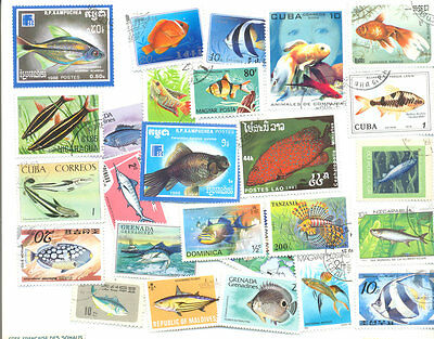 Fish- collection 500 all different stamps-mainly large - medium