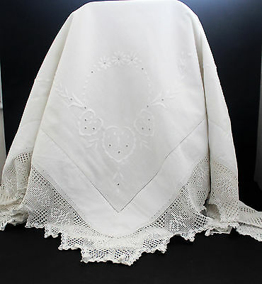 Vintage small square white cotton tablecloth with embroidery. Small defect.