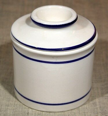 "Norpro Ceramic ""Blue & White Banded"" French Butter Bell/Butter Keeper 1990s"
