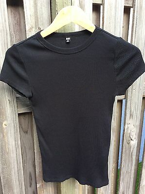 Women's Ribbed T-shirt Size XS Black