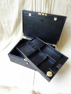 A Victorian Leather Stationery Box a Prize from Sandhurst