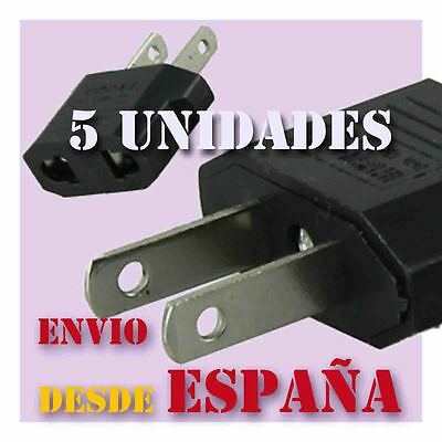 5 Adaptadores Corriente Pared Convertidor Enchufe Clavija Europeo Americano