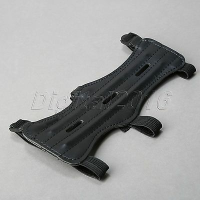 Flexible Black Archery Hunting Bow 3 Strap Arm Guard Wrist Protector Cow Leather